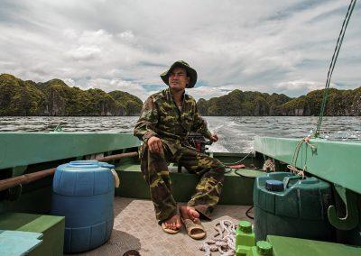 cat ba langurs Luan driving southern boat - Neahga Leonard