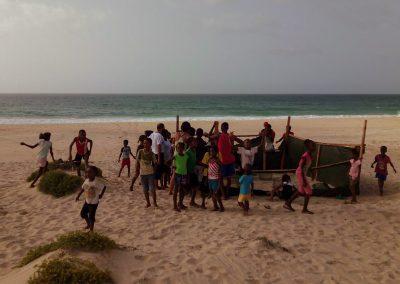 children on the beach turtle nest