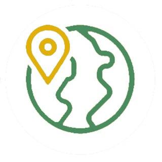 nachhaltig reisen Weltkugel grün mit Punkt