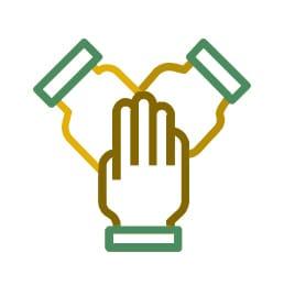 hand volunteer icon grün braun gelb färben diversität